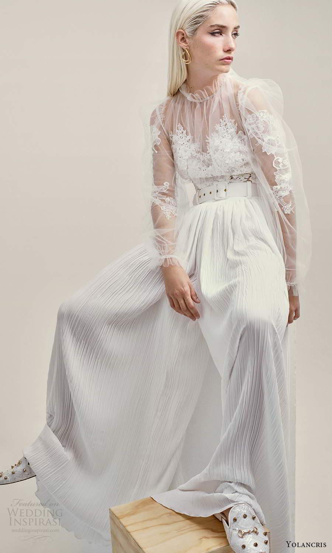 yolancris 2021 bridal illusion long puff sleeves sheer high ruffle sweetheart neckline a line wedding dress pleated skirt (23) mv