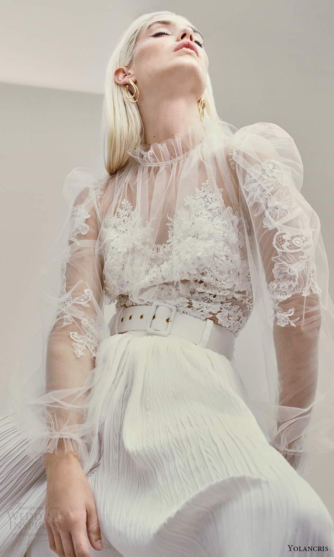 yolancris 2021 bridal illusion long puff sleeves sheer high ruffle sweetheart neckline a line wedding dress pleated skirt (23) zv
