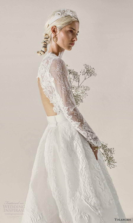 yolancris 2021 bridal illusion long sleeves high neckline sheer embellished lace bodice a line ball gown wedding dress chapel train (7) bv