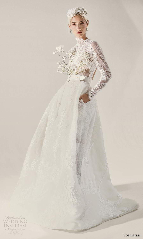 yolancris 2021 bridal illusion long sleeves high neckline sheer embellished lace bodice a line ball gown wedding dress chapel train (7) mv
