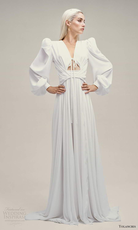 yolancris 2021 bridal long bishop sleeve v neckline cutout bodice clean minimalist a line wedding dress (16) mv