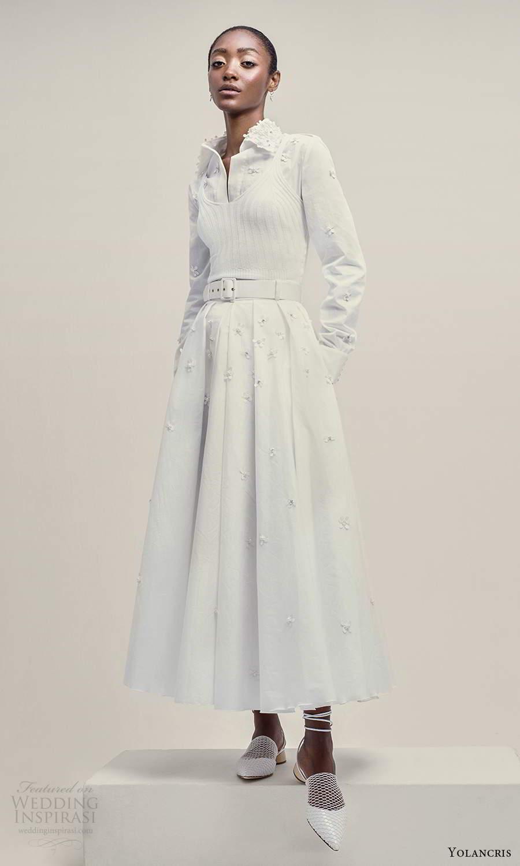 yolancris 2021 bridal long sleeve collar shirt blouse a line skirt two piece wedding dress (11) mv