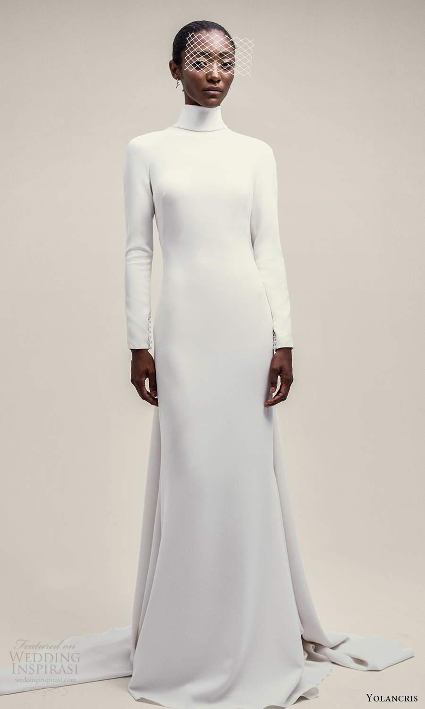 yolancris 2021 bridal long sleeve high neckline clean minimalist sheathe wedding dress chapel train (8) mv