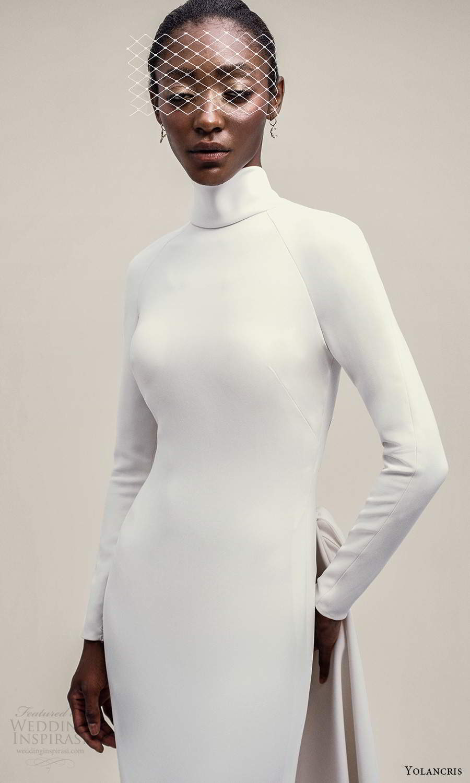 yolancris 2021 bridal long sleeve high neckline clean minimalist sheathe wedding dress chapel train (8) zv