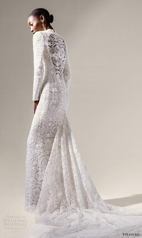 yolancris 2021 bridal long sleeve high neckline fully embellished lace sheath wedding dress chapel train (2) bv