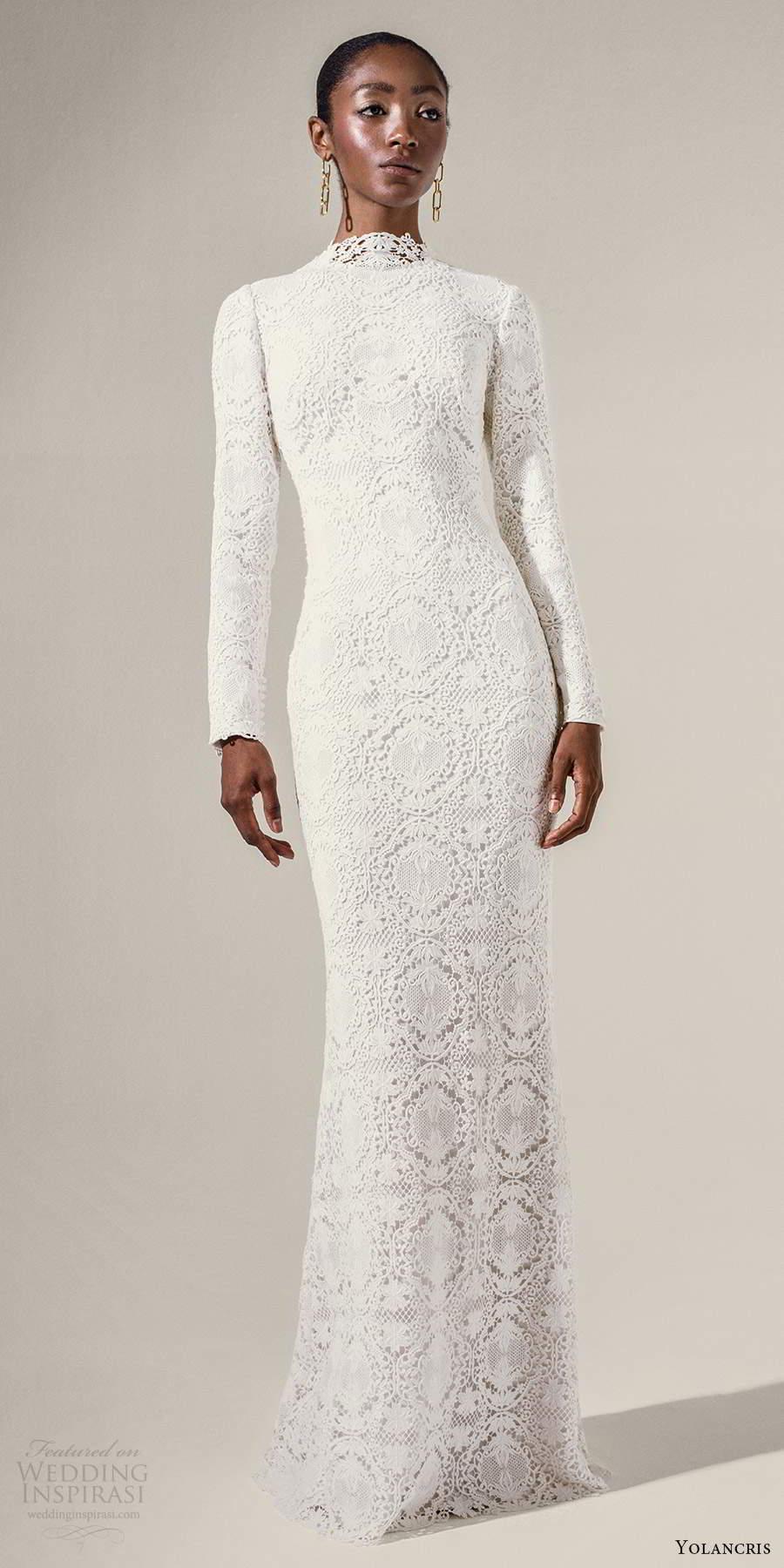 yolancris 2021 bridal long sleeve high neckline fully embellished lace sheath wedding dress chapel train (2) mv