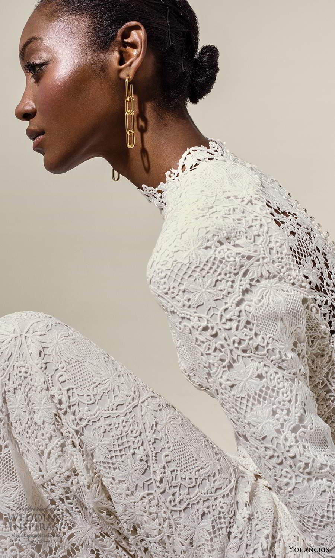 yolancris 2021 bridal long sleeve high neckline fully embellished lace sheath wedding dress chapel train (2) zv