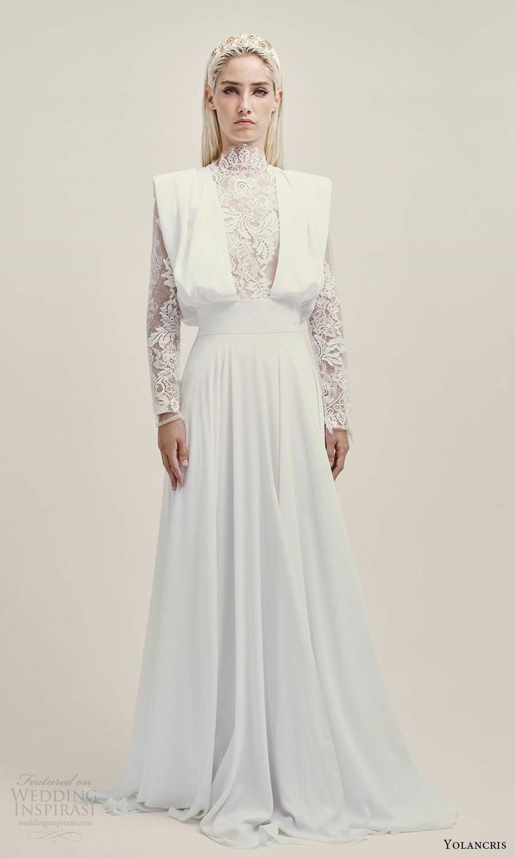 yolancris 2021 bridal long sleeves high neckline lace pinafore bodice a line wedding dress (13) mv