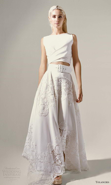yolancris 2021 bridal sleeveless bateau neckline crop top a line two piece wedding dress (20) mv