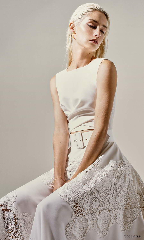 yolancris 2021 bridal sleeveless bateau neckline crop top a line two piece wedding dress (20) zv