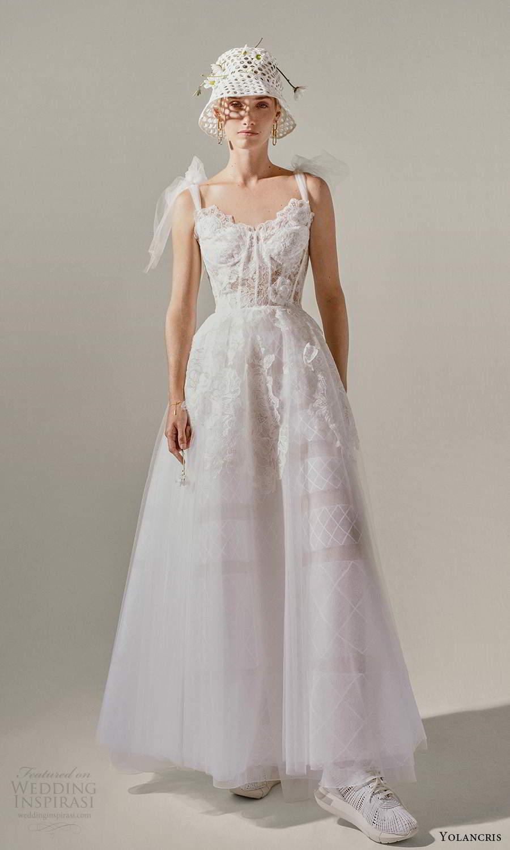 yolancris 2021 bridal sleeveless bow straps sweetheartneckline embellished bodice tea length a line wedding dress (28) mv