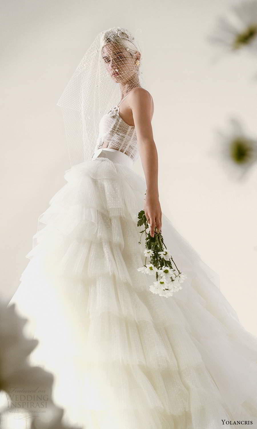 yolancris 2021 bridal sleeveless double straps sweetheart neckline ruched bodice a line ball gown wedding dress tiered skirt (10) mv
