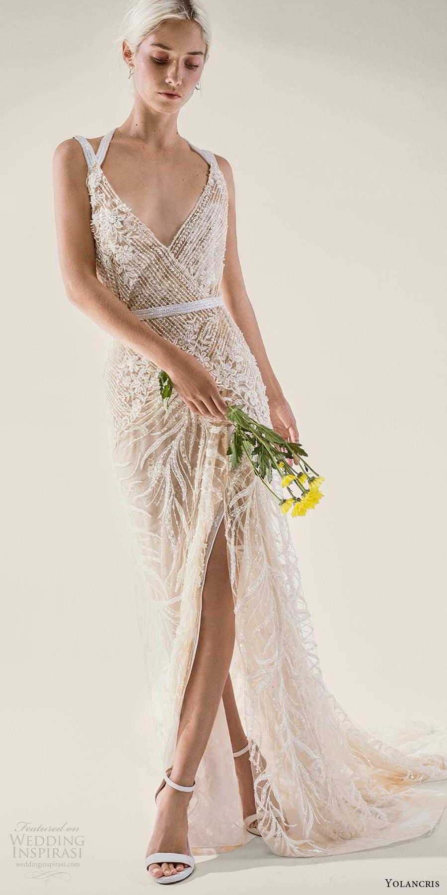 yolancris 2021 bridal sleeveless double straps v neckline fully embellished sheath wedding dress chapel train (3) mv