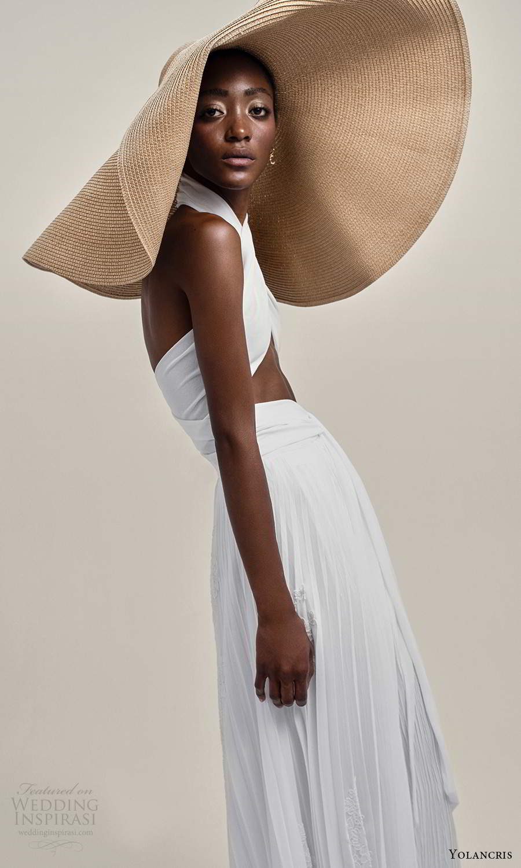 yolancris 2021 bridal sleeveless halter neckline crossover cutout bodice a line wedding dress (22) mv