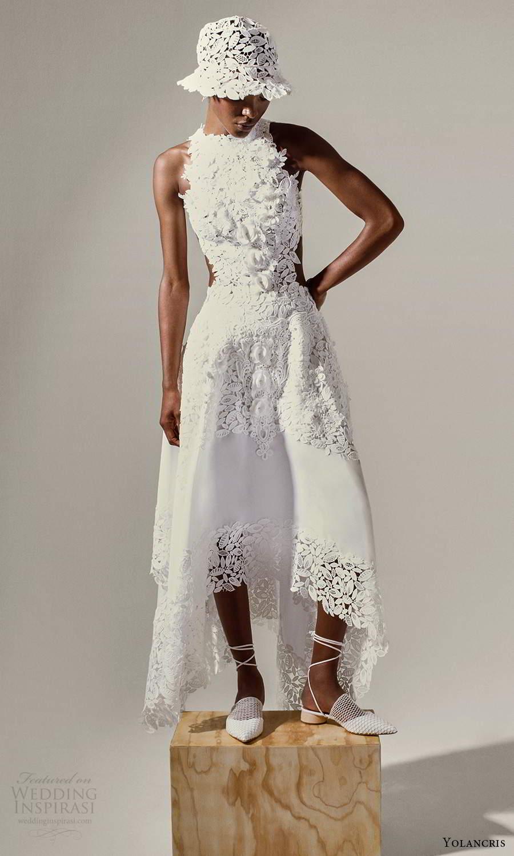 yolancris 2021 bridal sleeveless halter neckline fully embellished a line ball gown wedding dress high low skirt (6) fv
