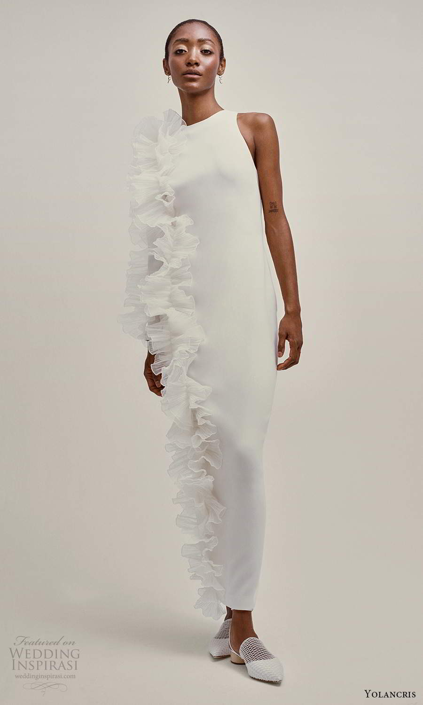 yolancris 2021 bridal sleeveless straps jewel neckline clean minimalist sheath wedding dress ruffle side (26) mv