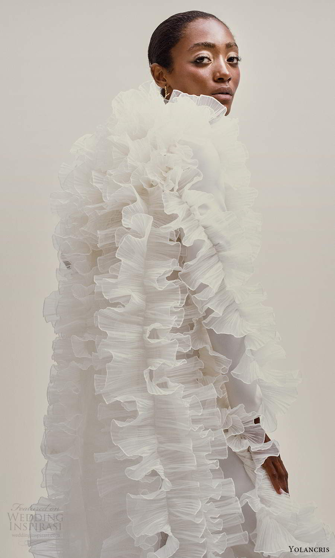 yolancris 2021 bridal sleeveless straps jewel neckline clean minimalist sheath wedding dress ruffle side (26) sv
