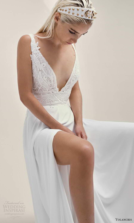 yolancris 2021 bridal sleeveless straps plunging v neckline embellished lace bodice a line wedding drses (21) mv