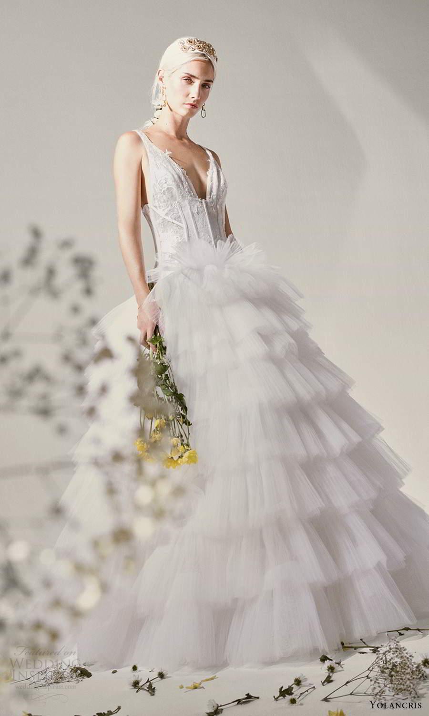 yolancris 2021 bridal sleeveless straps plunging vneckline corset bodice ball gown wedding dress tiered skirt (14) mv
