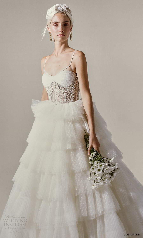yolancris 2021 bridal sleeveless straps semi sweetheart neckline embellished corset bodice a line ball gown wedding dress tiered skirt (5) mv