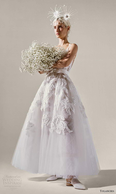 yolancris 2021 bridal sleeveless straps square neckline fully embellished tea length a line ball gown wedding dress (9) mv