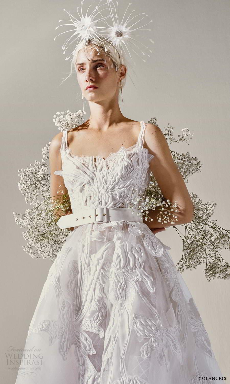 yolancris 2021 bridal sleeveless straps square neckline fully embellished tea length a line ball gown wedding dress (9) zv