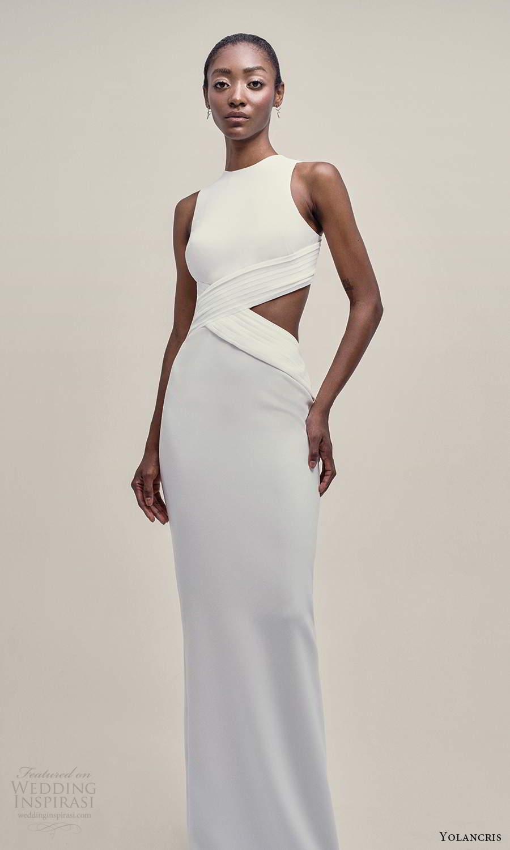 yolancris 2021 bridal sleeveless thick straps high jewel neckline clean minimalist side cutout sheath wedding dress (17) mv