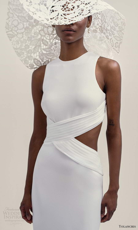 yolancris 2021 bridal sleeveless thick straps high jewel neckline clean minimalist side cutout sheath wedding dress (17) zv