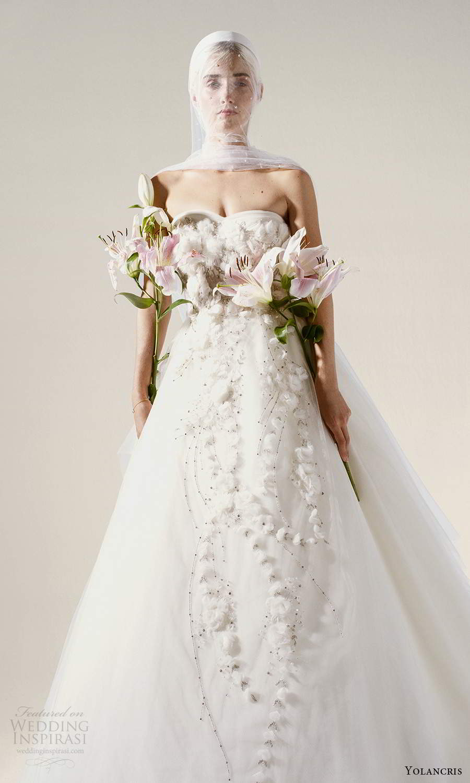 yolancris 2021 bridal strapless semi sweethaert embellished a line ball gown wedding dress (16) mv
