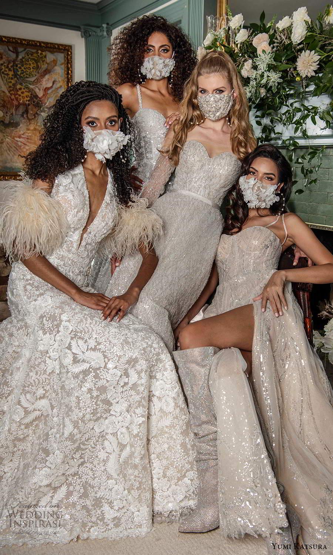 yumi katsura fall 2021 bridal cap sleeves plunging v neckline fully embellished trumpet mermaid wedding dress chapel train mask (4) mv