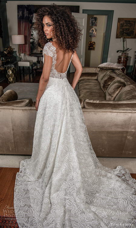 yumi katsura fall 2021 bridal cap sleeves sweetheart neckline fully embellished lace a line wedding dress (15) bv