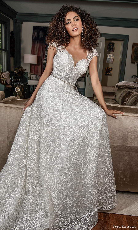 yumi katsura fall 2021 bridal cap sleeves sweetheart neckline fully embellished lace a line wedding dress (15) mv