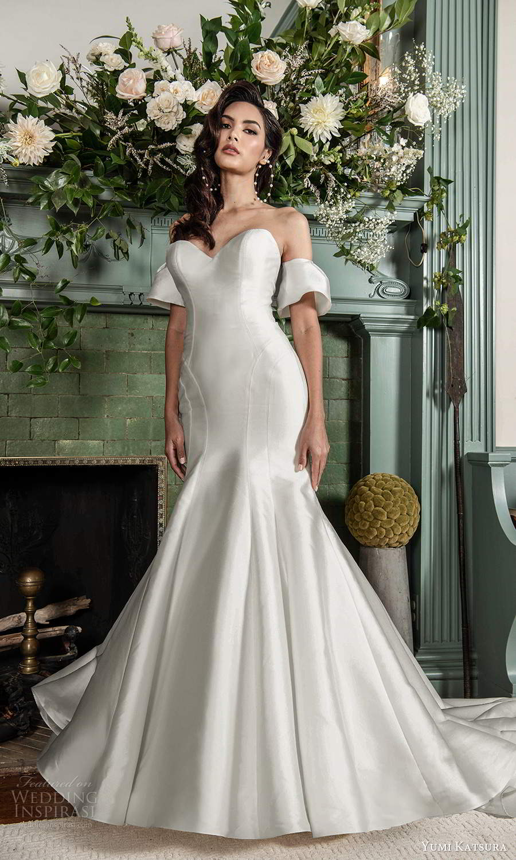 yumi katsura fall 2021 bridal detached short sleeves strapless sweethaertneckline clean minmalist fit flare mermaidn wedding dress chapel train (10) mv