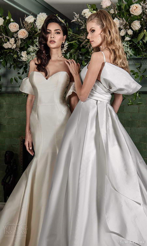 yumi katsura fall 2021 bridal detached short sleeves strapless sweethaertneckline clean minmalist fit flare mermaidn wedding dress chapel train (10) zv