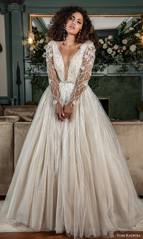 yumi katsura fall 2021 bridal illusion long sleeves plunging v neckline heavily embelilshed bodice a line ball gown wedding dress (12) mv