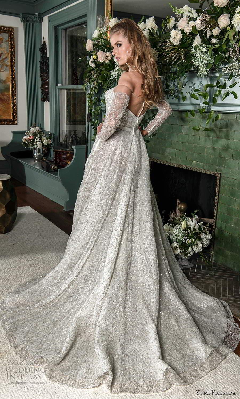 yumi katsura fall 2021 bridal off shoulder long sleeves sweetheart neckline fully embellished a line ball gown wedding dress chapel train (14) bv