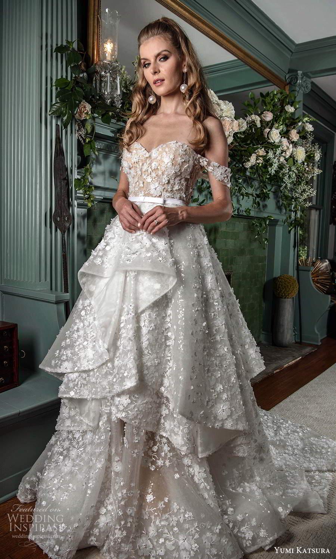 yumi katsura fall 2021 bridal off shoulder straps sweetheart neckline fully embellished a line ball gown wedding dress tiered skirt chapel train (19) mv