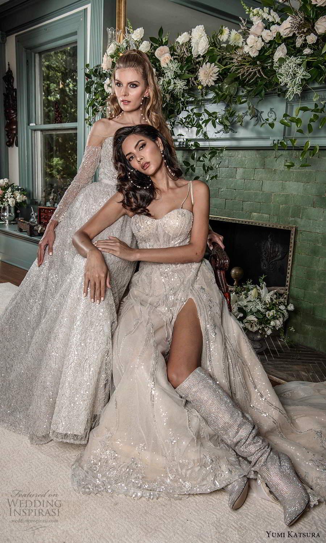yumi katsura fall 2021 bridal sleeveless beaded straps semi sweetheart neckline fully embellished a line wedding dress slit skirt (13) fv