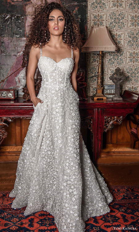 yumi katsura fall 2021 bridal sleeveless beaded straps sweetheart neckline fully embellished a line ball gown wedding dress pocket (7) mv