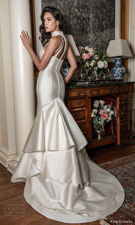 yumi katsura fall 2021 bridal sleeveless high halter neckline cutout bodice clean minimalist mermaid wedding dress chapel train (16) bv