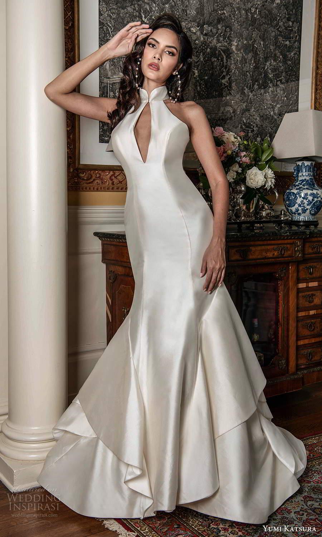 yumi katsura fall 2021 bridal sleeveless high halter neckline cutout bodice clean minimalist mermaid wedding dress chapel train (16) mv