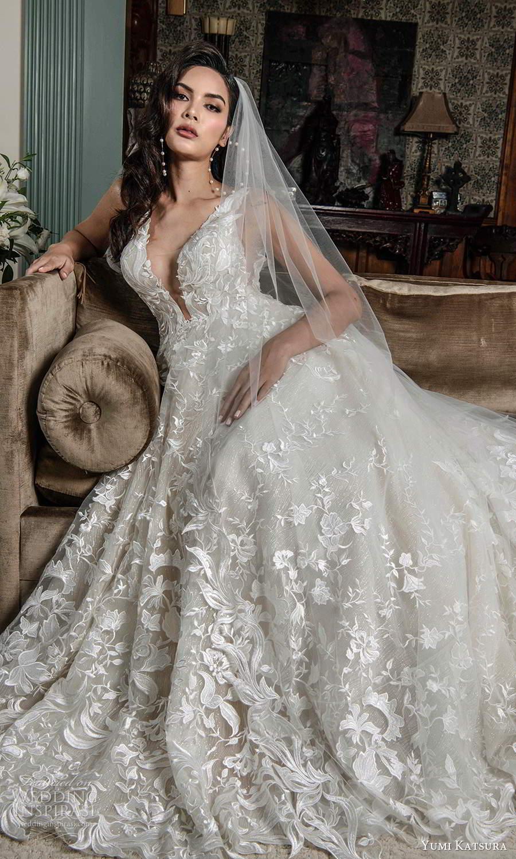 yumi katsura fall 2021 bridal sleeveless straps plunging v neckline fully embellished a line wedding dress low back chapel train (17) mv