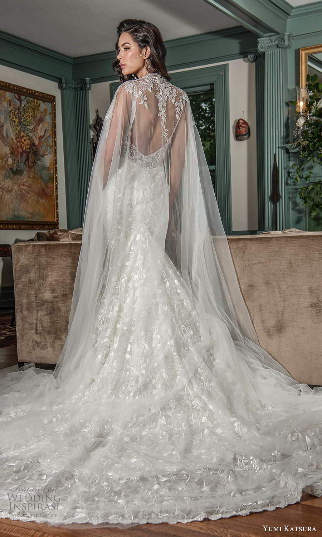 yumi katsura fall 2021 bridal sleeveless straps plunging v neckline fully embellished mermaid wedding dress chapel train sheer cape (3) bv