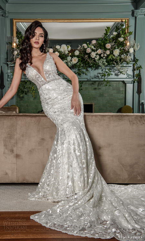 yumi katsura fall 2021 bridal sleeveless straps plunging v neckline fully embellished mermaid wedding dress chapel train sheer cape (3) fv