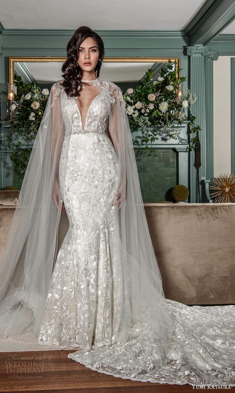 yumi katsura fall 2021 bridal sleeveless straps plunging v neckline fully embellished mermaid wedding dress chapel train sheer cape (3) mv