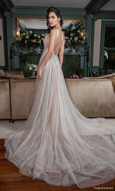 yumi katsura fall 2021 bridal sleeveless straps plunging v necklnie embellished bodice a line wedding dress chapel train scoop back (1) bv