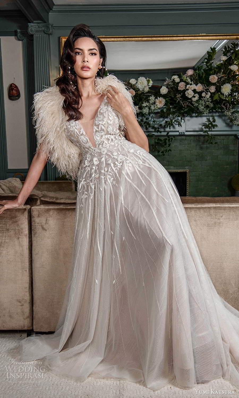 yumi katsura fall 2021 bridal sleeveless straps plunging v necklnie embellished bodice a line wedding dress chapel train scoop back (1) mv
