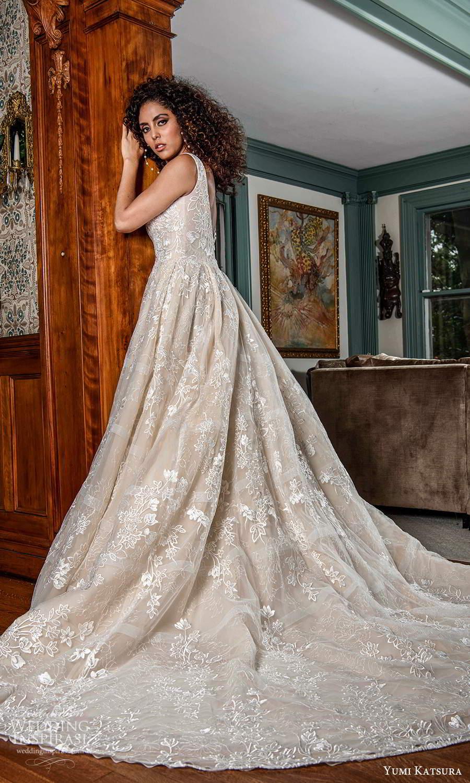 yumi katsura fall 2021 bridal sleeveless straps square neckline fully embellished a line ball gown wedding dress chapel train (20) bv
