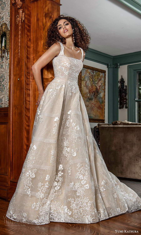 yumi katsura fall 2021 bridal sleeveless straps square neckline fully embellished a line ball gown wedding dress chapel train (20) mv