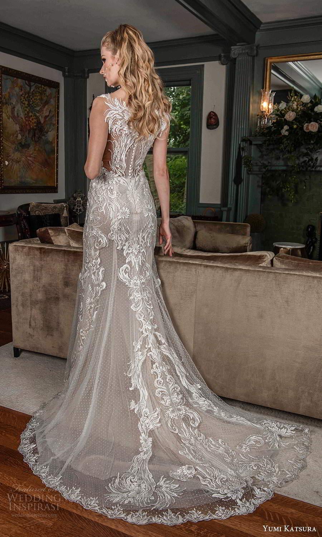 yumi katsura fall 2021 bridal sleeveless straps sweethaert neckline fully embellished mermaid sheath wedding dress chapel train (5) bv